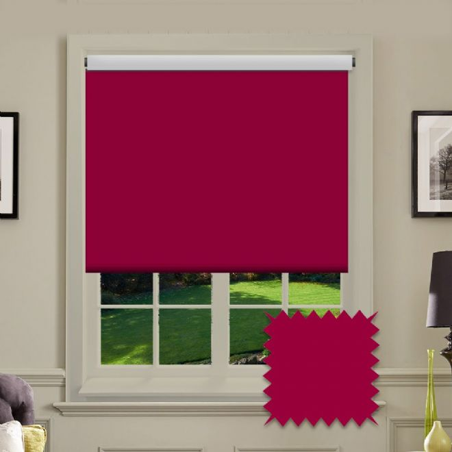 Plain Roller in Carnival Ruby Patterned Fabric - Just Blinds